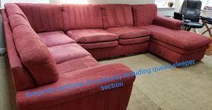 Burgundy sectional-3 sections for Sale in Burlington, NJ