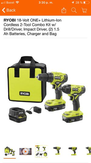 RYOBI 18-Volt ONE+ Lithium-Ion Cordless 2-Tool Combo Kit w/ Drill/Driver, Impact Driver, (2) 1.5 Ah Batteries, Charger and Bag for Sale in Fontana, CA