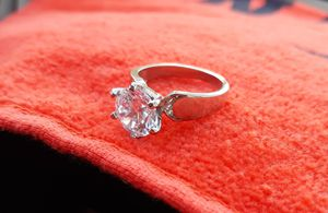 Real silver white cz ring de plata size 8 for Sale in Houston, TX