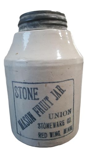 Union Stoneware Co. Red Wing. Minn. Stone Mason Jar with Zinc Lid Pat. Jan. 1899 Antique for Sale in Carson, CA