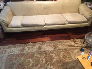 MUST GO - 9' leather & teakwood sofa for Sale in Pico Rivera, CA