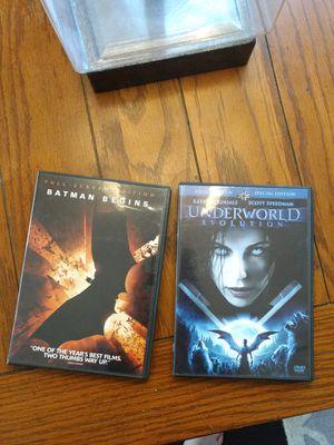 Batman begins and underworld evolution dvds porch pick up Steele Creek for Sale in Charlotte, NC