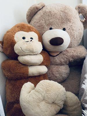 Huge teddy bear and monkey for Sale in Bradenton, FL