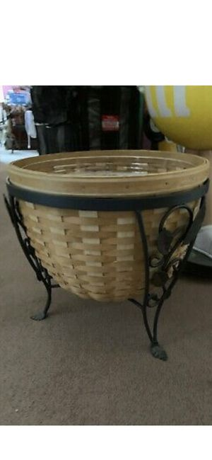 Longaberger basket with wrought iron stand for Sale in East Brunswick, NJ
