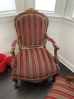 Antique reproduction arm chair in gold. Measurements in picture. for Sale in Ladera Heights, CA