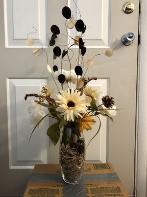 Fake flowers in glass vase for Sale in Tempe, AZ