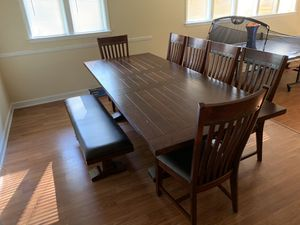 Hayden Rectangular Trestle Table Dining Room Set Model # HY-TA-42100-RSE-R-SET. Includes 6 Slat Back Chairs and Matching Bench for Sale in Columbia, SC