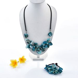 New Item Blue Shell and Seed Bead Floral Necklace 24 Inch and Bracelet 7.5 Inch for Sale in Buffalo, NY
