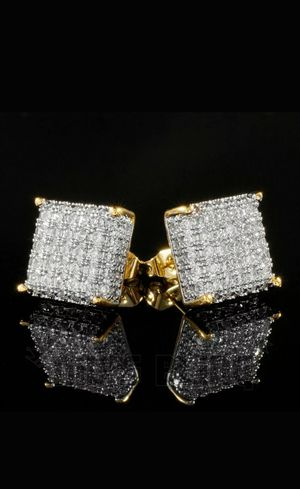 18K Gold Bling Out Iced AAA Lab Diamond Micropave Square Stud Earring 8G for Sale in Los Angeles, CA