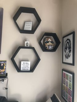 Floating hexagon shelves ( see description) for Sale in Tacoma,  WA