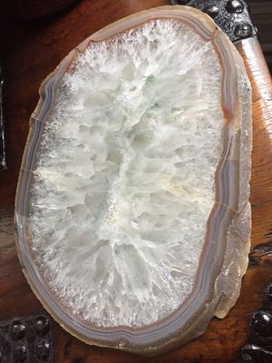Giant slice of closed quartz geode with golden agate edge. 12 inches long, 8.5 inches tall, 1 inch deep for Sale in Washington, DC