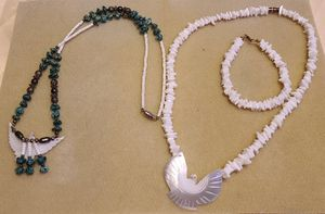 2 Native Indian Shell Necklaces, with matching bracelet for Sale in High Ridge, MO