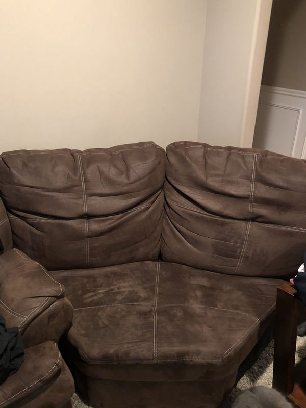 Brown Microfiber Sectional or Couches with Recliner And Tables