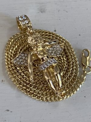 14k gold cuban chain and angel charm for Sale in Tampa, FL