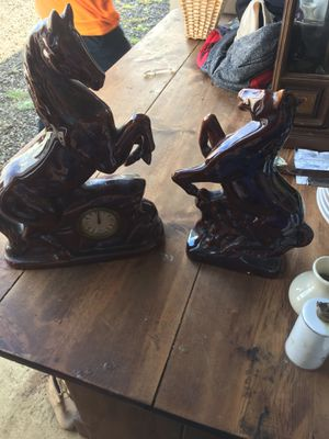 Ceramic rearing horse clock set for Sale in Westport, WA