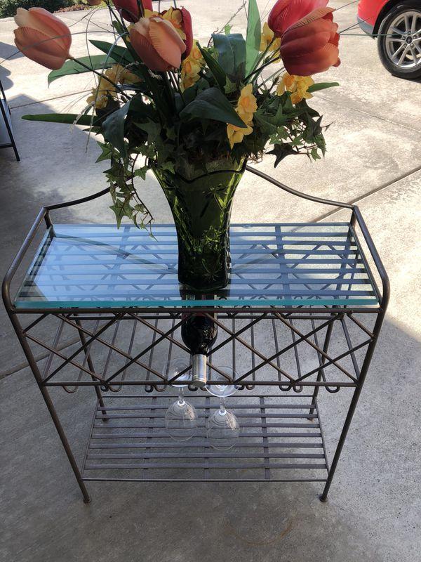 Wine / baker's rack with thick glass, dark bronze finish