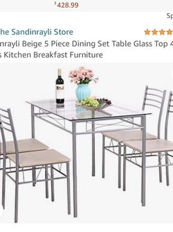 BRAND NEW! Sandinrayli Beige 5 Piece Dining Set Table Glass Top 4 Chairs Kitchen Breakfast Furniture for Sale in Norwalk,  CA