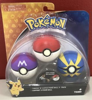 Pokemon Throw 'N' Catch Poké Ball 3 Pack for Sale in Sunny Isles Beach, FL