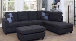 sectional couch with ottoman black grey Linen for Sale in South San Francisco, CA