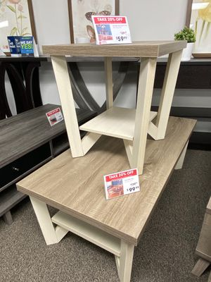 Grace Coffee & End Table, Dark Taupe and Ivory for Sale in Downey, CA