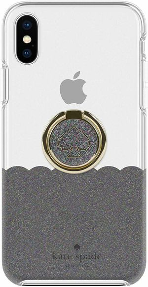 Kate Spade NY - Hardshell Case + Ring for Apple iPhone X & XS (Black Glitter) for Sale in Rancho Cucamonga, CA