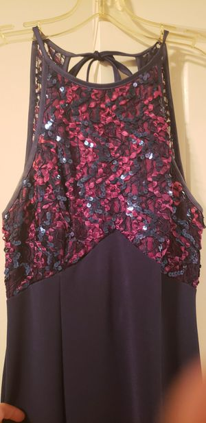 Size 7-8 blue sequined fancy dress like new for Sale in Pomona, CA