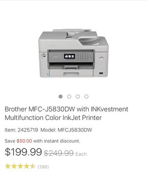 Brother MFC-J5830DW multi functional printer for Sale in Kensington, MD