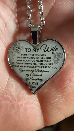 silver necklace with silver heart pendant for a wife for Sale in New Port Richey, FL