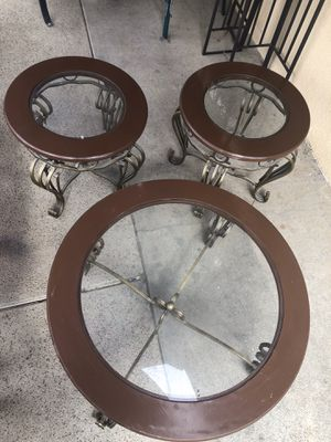 3 wooden and glass coffee tables for Sale in San Dimas, CA
