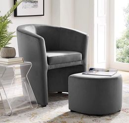 Velvet Armchair and Ottoman Set in Gray for Sale in Cleveland,  OH