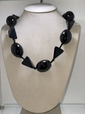Triangles&ovals big black beads Necklace (Long) for Sale in Chicago, IL