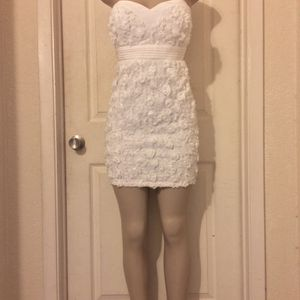 *White/Floral Strapless Mini Formal Dress • L or XL for Sale in Carrollton, TX
