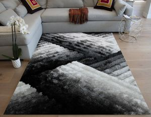 Black off white gray silver shag rug 5x7 feet modern rug for Sale in Los Angeles, CA