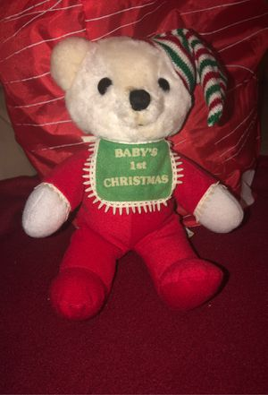"Vintage 1983 Dakin Baby's 1st Christmas Bear Plush Stuffed 8"" Sitting 10""Ornament, decoration, Holidays, Xmas, Festive, Kids for Sale in Plainfield, IL"