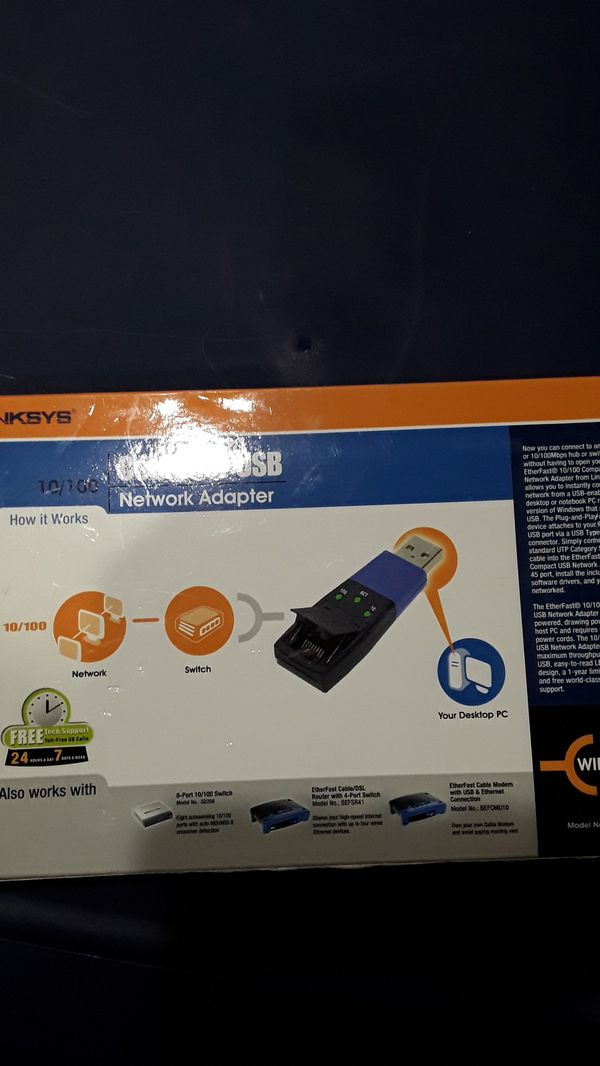 New linksys compact USB/ usb100m network adapter