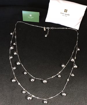 Silver Tone Kate Spade Dancing Bauble Ball & Crystal Double Strand Necklace for Sale in Wakefield, MA