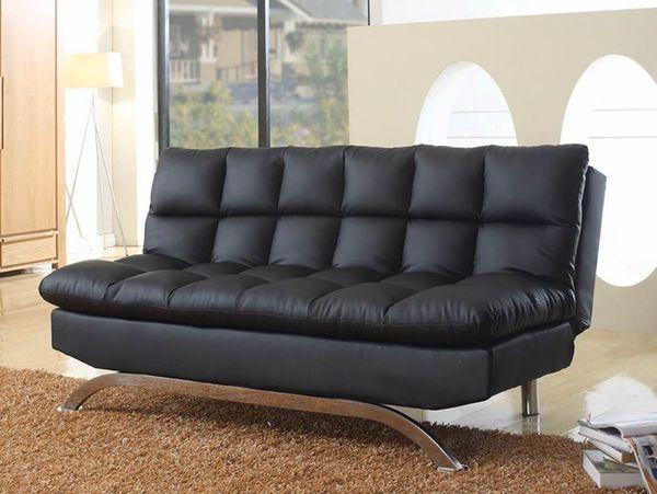 PU Leather Futon Sofa Bed in Black and Dark Brown