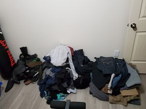 Clothing shoes bulk 150+ pieces, some like new, expensive brands Levi's Abercrombie Nike Aldo etc. Bagged up and ready to pick up as is. for Sale in Houston, TX