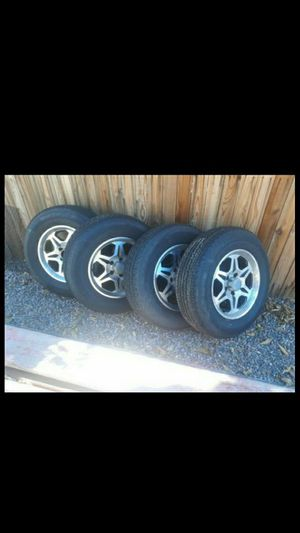 "15"" aluminum wheels with tires - 5 lug trailer for Sale in Mesa, AZ"