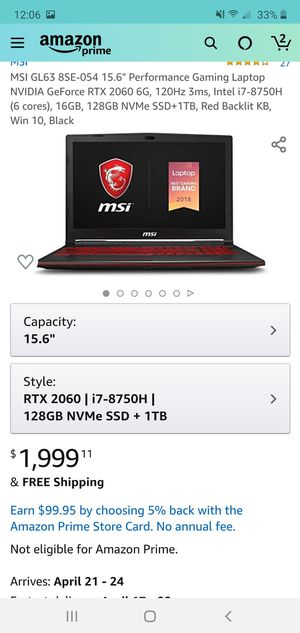 Gaming laptop for Sale in Benbrook, TX