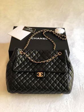 100% Authentic Chanel Large Black Bag with Gold Hardware for Sale in Arlington, VA