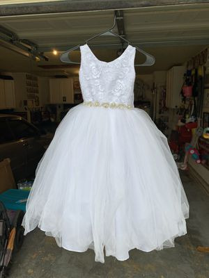 Wedding dress, quince (child's) size 4-shoes 10- flower girl shirt-xs jacket size 5 for Sale in San Antonio, TX