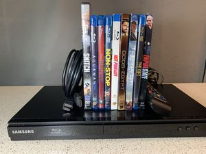 Used Samsung Blu-Ray disc play & 9 watched-once movies for Sale in Lewisville, TX