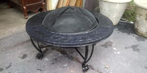 Black outdoor fire pit with top lid 24 inches tallx 36 inches round for Sale in Missouri City, TX