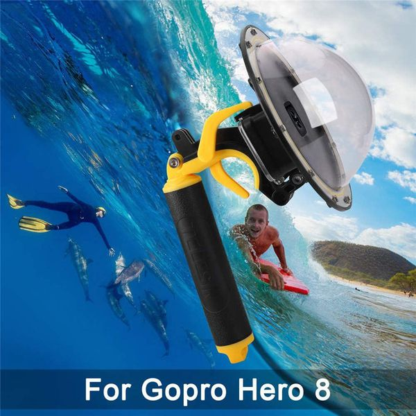 Telesin Dome Port for GoPro Hero 8 Black, Diving Transparent GoPro Dome Lens Waterproof Housing with Floaty Hand Grip Underwater Case