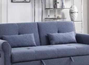 Brand new blue fabric sofa sleeper with pillows for Sale in Miami,  FL
