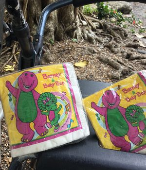 Barney and baby bop napkins 16 in each package never opened for Sale in Pinecrest, FL