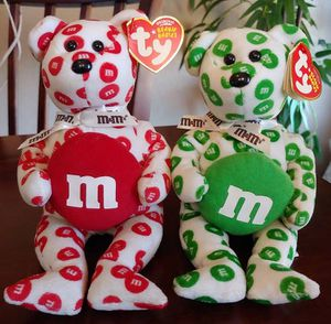 Pair of 2008 Ty Green & Red M&M Beanie Babies for Sale in Kyle, TX