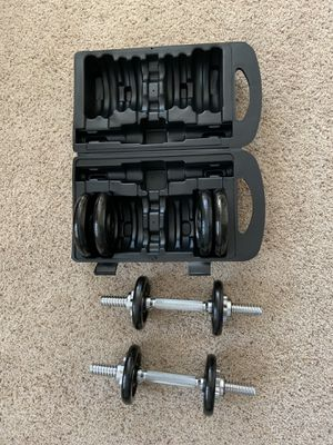 Adjustable barbell lifting dumbells weight set with case for Sale in Chevy Chase, MD