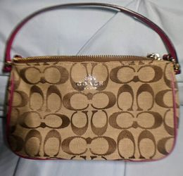 Coach Cranberry/Khaki Signature Top Handle Purse for Sale in Portland,  OR